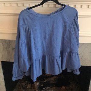 Free people women's blue blouse